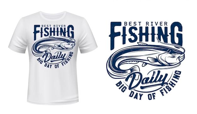 Catfish fish t-shirt print mockup, fishing sport Premium Vector