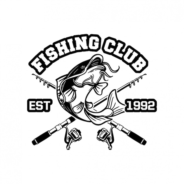 Catfish jump in black and white for logo or badge of sign fishing club Premium Vector