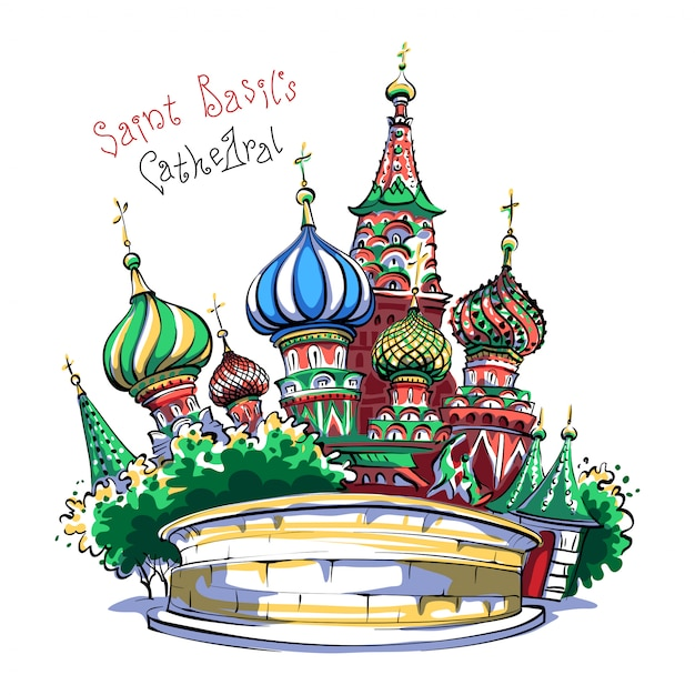 Cathedral of vasily the blessed, moscow, russia Premium Vector
