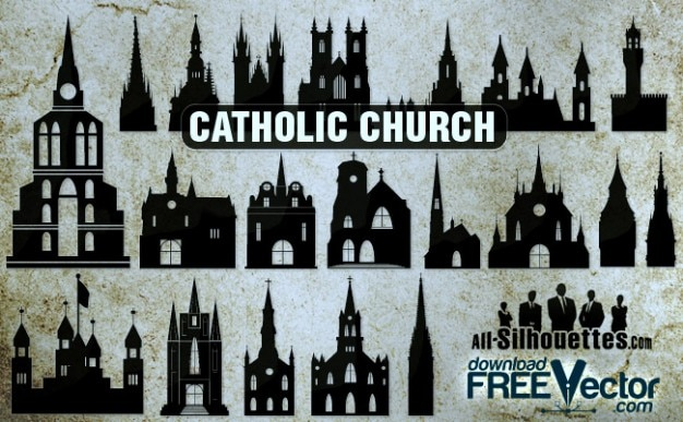 Catholic church all silhouettes