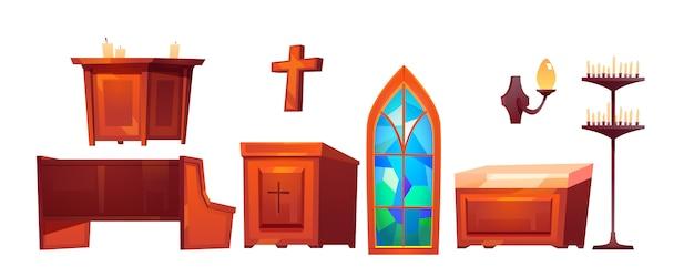 内部のものの中のカトリック教会セット 無料ベクター
