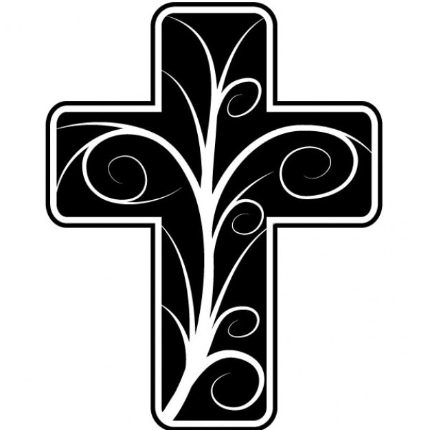 Catholic cross with floral design