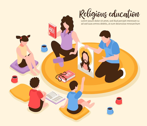 Catholic religious home education parents showing children bible and portrait of jesus isometric illustration Free Vector