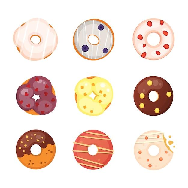 Пончик catoon с иллюстрацией глазури. Premium векторы