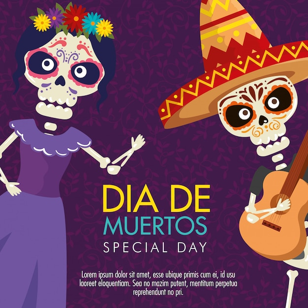 Catrina and skeleton man with guitar for day of the dead event Free Vector