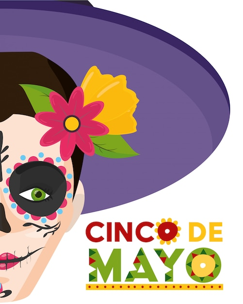 Catrina skull with annoucement of mexican celebration, mexico Free Vector