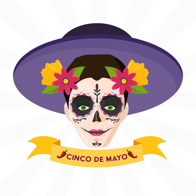 Catrina skull with ribbon of mexican celebration over white Free Vector