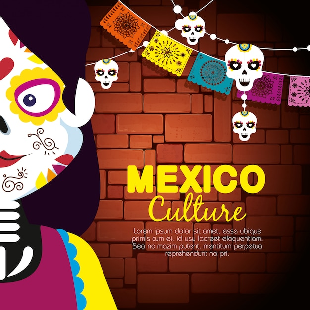Catrina with skull banner banner to event celebrate Free Vector
