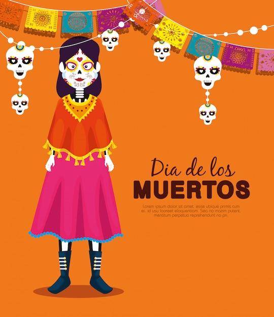 Catrina con banner festa teschio per celebrare l'evento Vettore gratuito