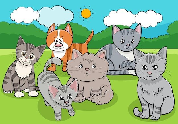 고양이 새끼 고양이 동물 그룹 만화 프리미엄 벡터