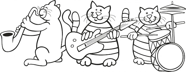 Cats Band For Coloring Book Vector Premium Download