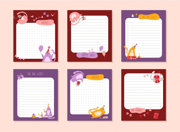 Cats birthday planner or personal stationery organizer or stickers set with notes and to do list for daily plans Premium Vector