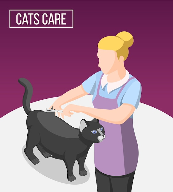 Уход за кошками изометрический фон с женщиной в фартуке во время стрижки домашнего животного Бесплатные векторы