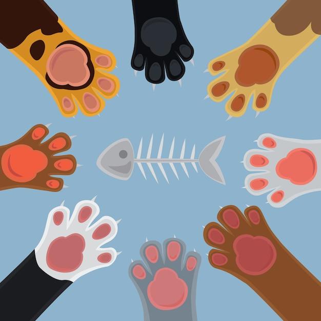Cats cartoon paw set and fish bone Premium Vector