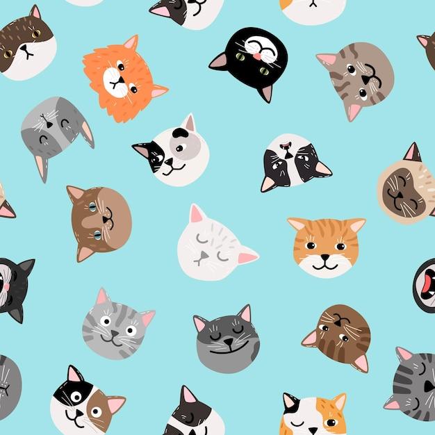 고양이 캐릭터 패턴. 귀여운 고양이 얼굴 완벽 한 패턴, 컬러 그린 된 고양이 벡터 텍스처 프리미엄 벡터