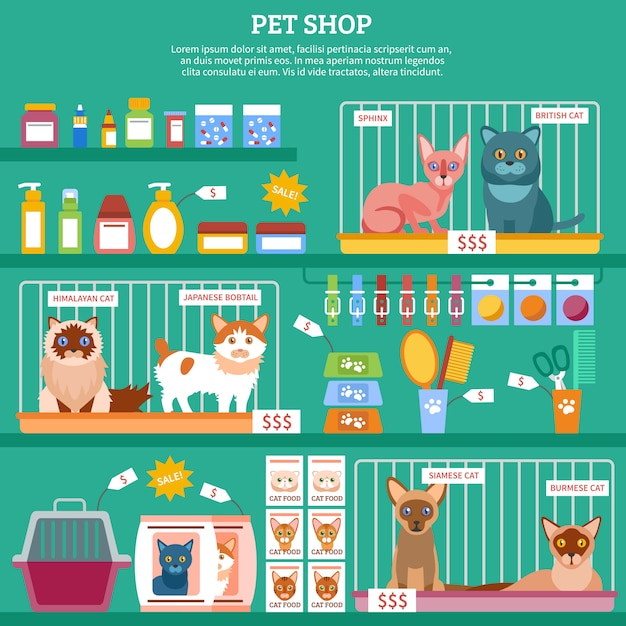 Cats concept illustration Free Vector