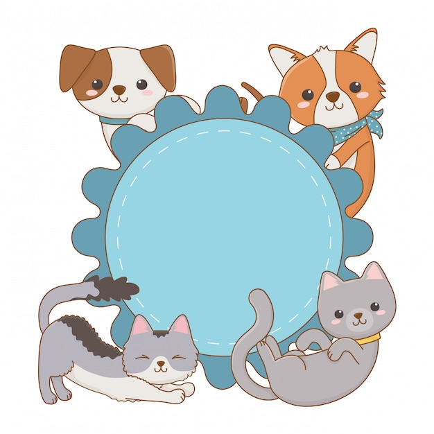 Cats and dogs cartoons on circle frame design Vector