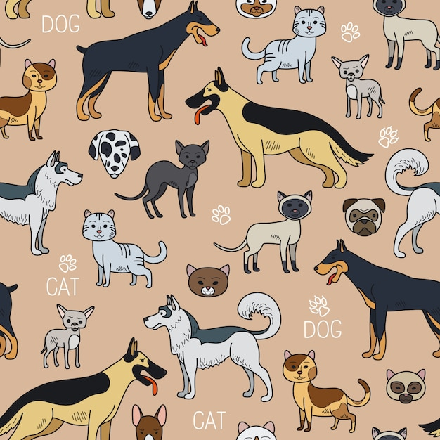 Cats and dogs seamless pattern Premium Vector