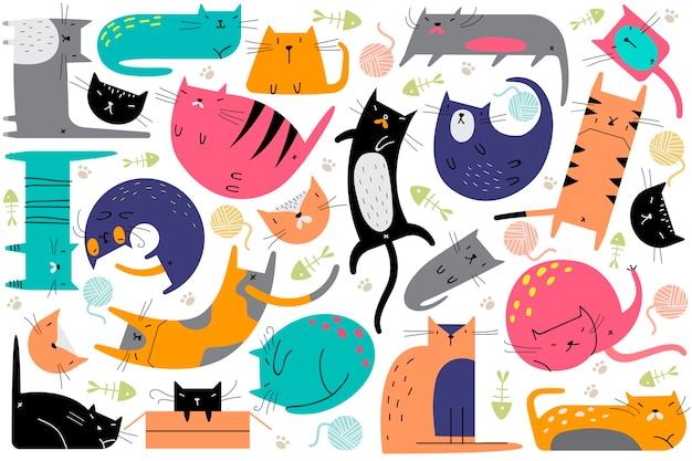 猫の落書きセット。さまざまなポーズで飼いならされた動物キティ子猫ペットの創造的な幼稚なパターンのコレクション。子供のための人間の友人のシームレスなテクスチャイラスト。 Premiumベクター