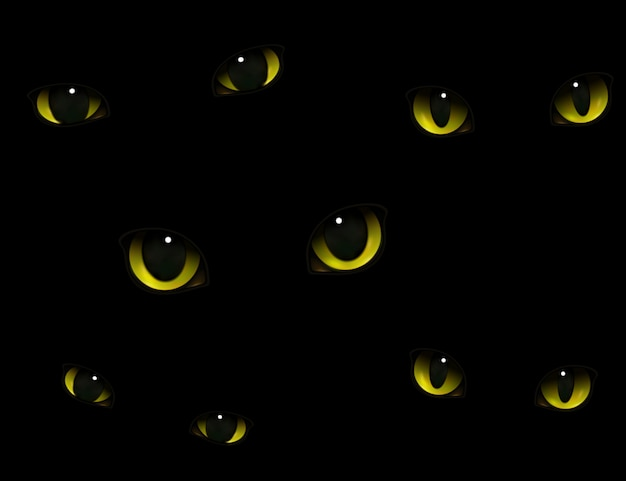 Cats eyes in darkness realistic Free Vector