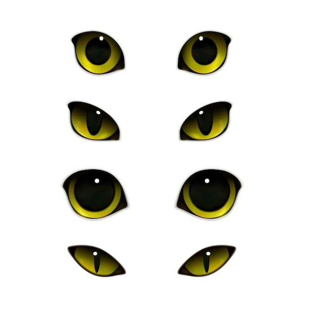 Cats eyes realistic set Free Vector