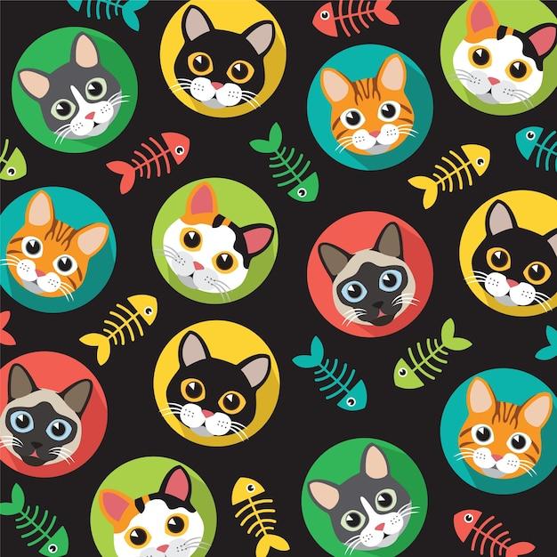 Cats and fishbone pattern Premium Vector