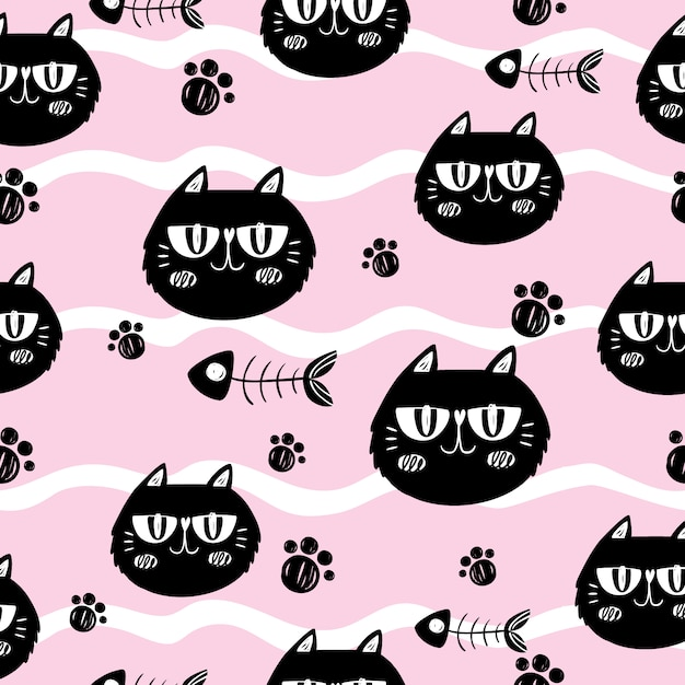 Cats and fishbones on pink background Free Vector