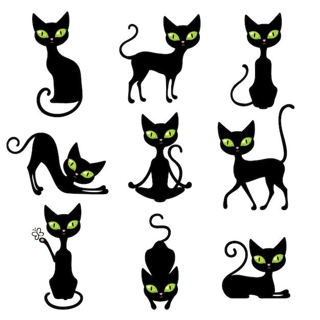 Кошки icon set Бесплатные векторы