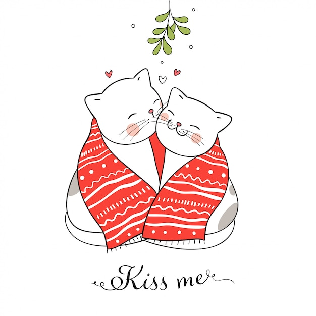 Cats kissing under a mistletoe Premium Vector