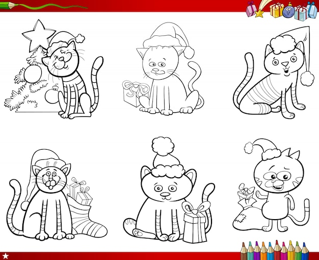 cats on christmas set coloring book premium vector