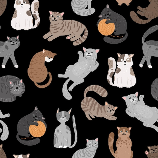고양이 완벽 한 패턴입니다. Shorthaired 고양이 패턴, 만화 키티 원활한 인쇄 벡터 디자인, 검은 배경에 고양이 Cattish 귀여운 텍스처 설정 프리미엄 벡터