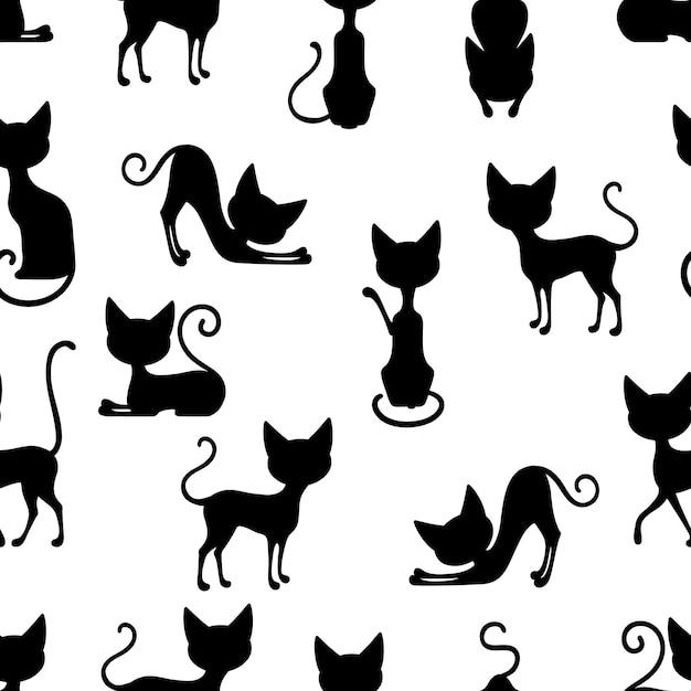 고양이 원활한 패턴 무료 벡터