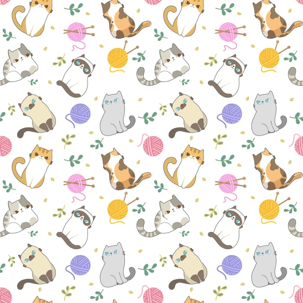 Cats seamless pattern. Premium Vector