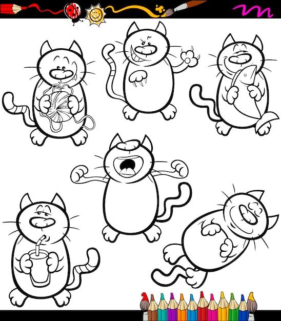 Cats Set Cartoon Coloring Book Premium Vector