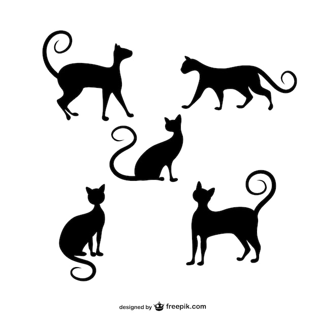 cats silhouettes pack vector free download rh freepik com cat silhouette vector file cat silhouette vector free download