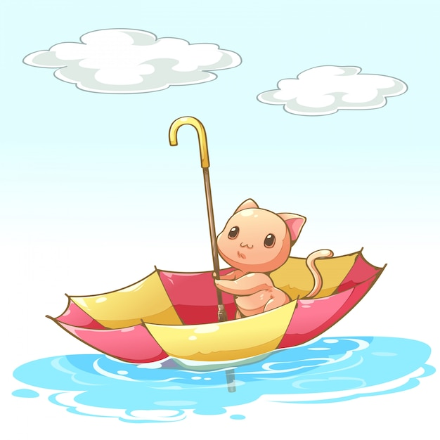Cats sitting in the umbrella floating by water Premium Vector