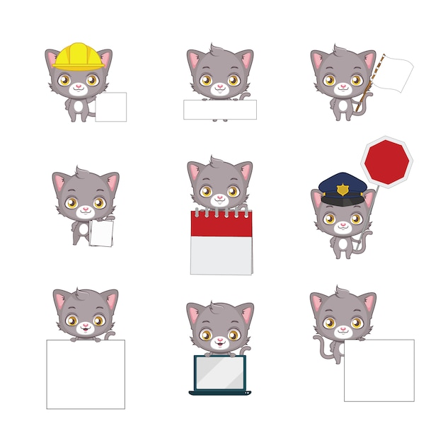 Cats with frames collection Vector | Free Download
