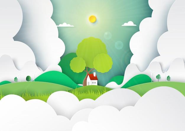 少しcattage、雲と山の背景を持つ自然風景コンセプトのペーパーアート。 Premiumベクター