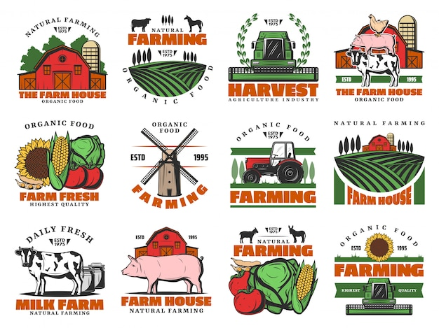 Cattle farm, agriculture farming food products Premium Vector