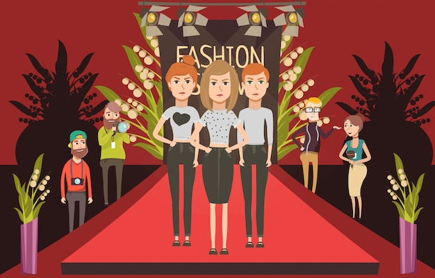 Catwalk fashion set flat composition with doodle female models and journalists photographer characters Free Vector