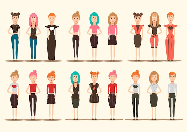 Catwalk models characters collection Free Vector