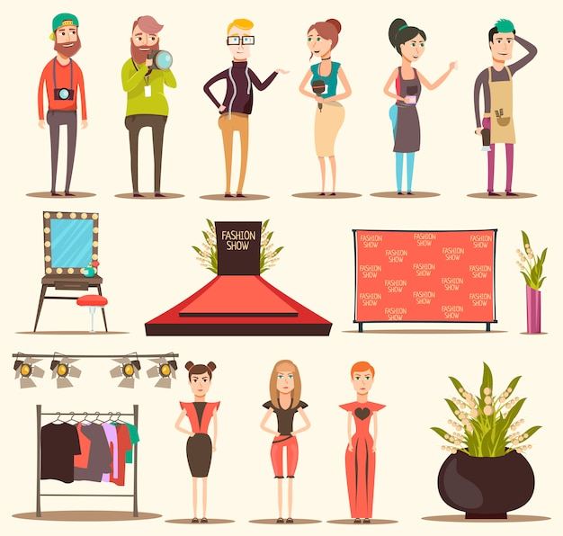 Catwalk show elements collection Free Vector