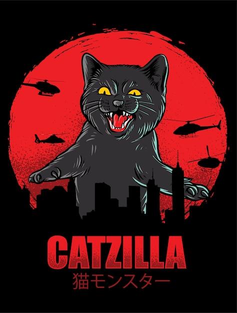 Catzilla funny isolated on black Premium Vector