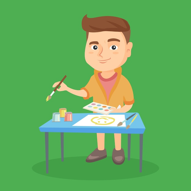 Caucasian boy drawing a picture with a paint brush Premium Vector