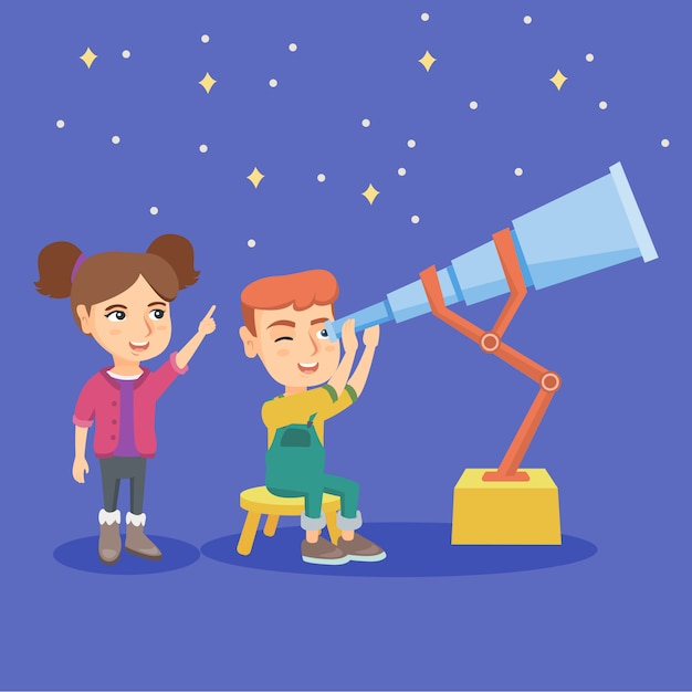 Caucasian boy looking at stars through a telescope Premium Vector