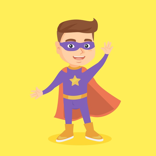 Caucasian boy playing in a superhero. Premium Vector