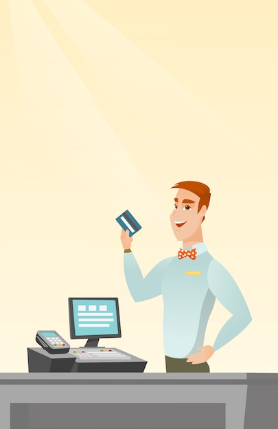 Caucasian cashier holding a credit card. Premium Vector