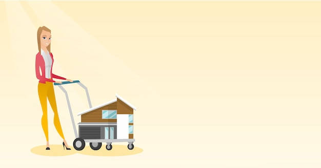 Caucasian delighted woman buying a house. Premium Vector