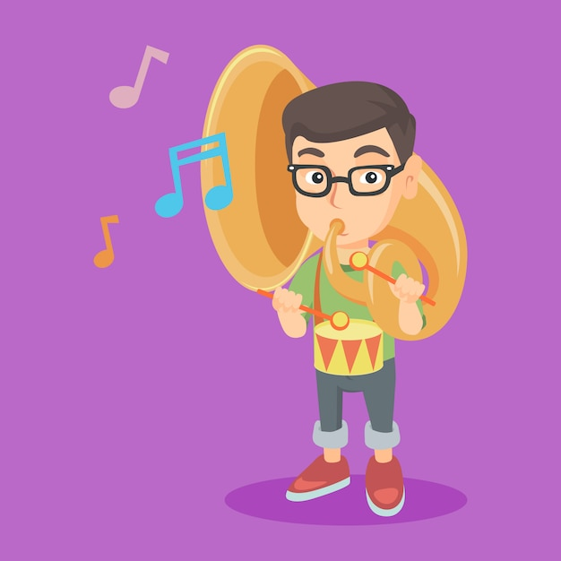 Caucasian kid playing the tuba and the drum. Premium Vector