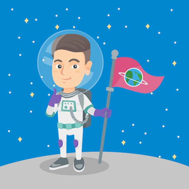 Caucasian kid spaceman with flag on a new planet. Premium Vector